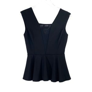 Forever 21 Medium Black Sheer Panel Peplum Top